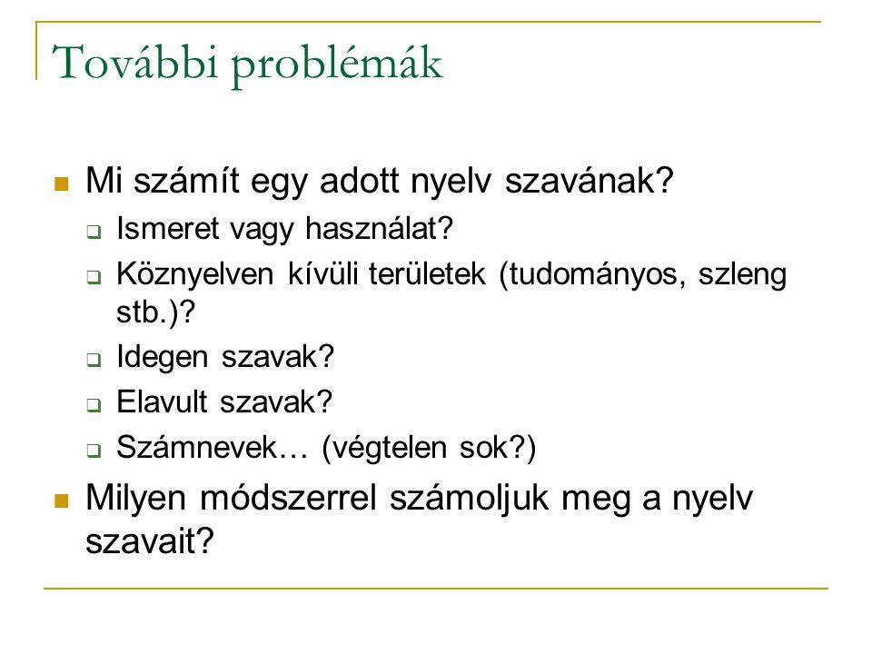 További problémák Mi számít egy adott nyelv szavának