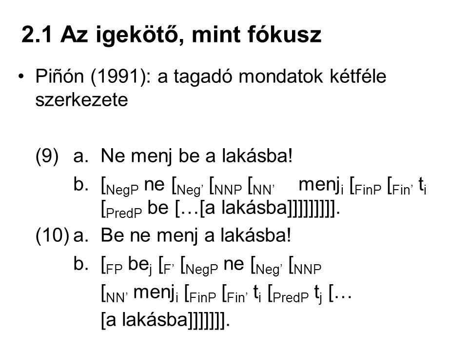 2.1 Az igekötő, mint fókusz Piñón (1991): a tagadó mondatok kétféle szerkezete. (9) a. Ne menj be a lakásba!