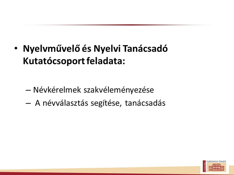Nyelvművelő és Nyelvi Tanácsadó Kutatócsoport feladata: