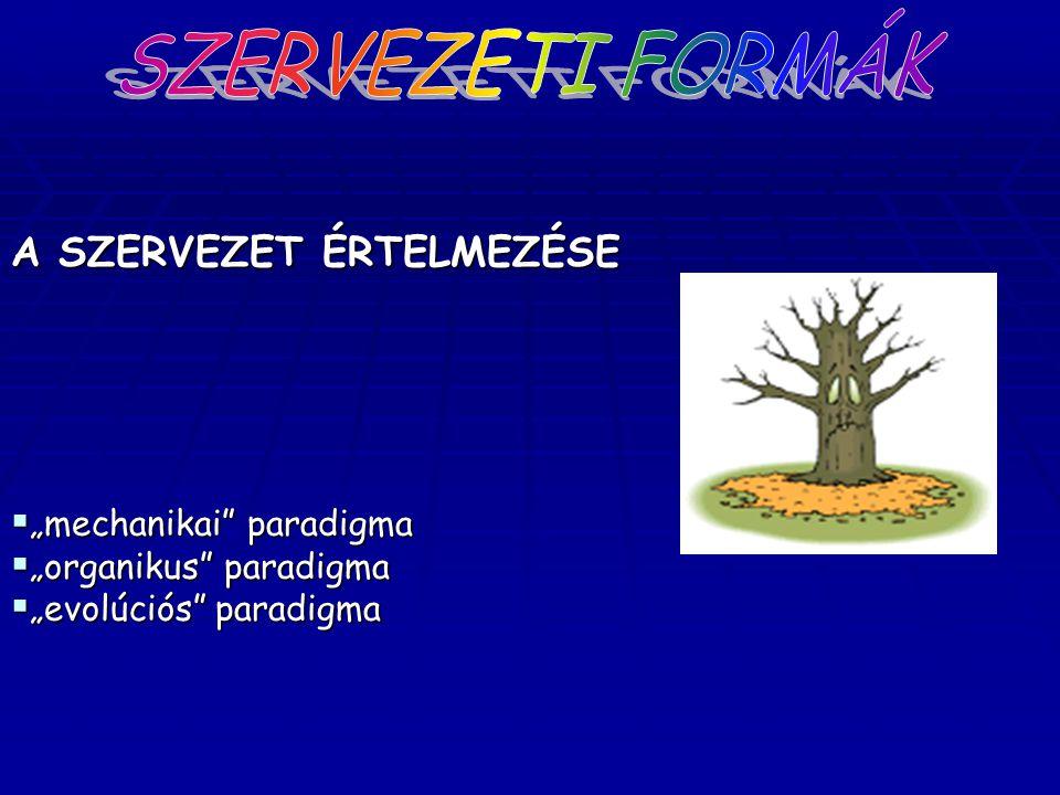 """SZERVEZETI FORMÁK A SZERVEZET ÉRTELMEZÉSE """"mechanikai paradigma"""