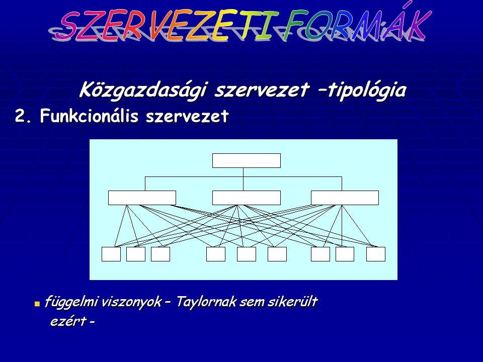 Közgazdasági szervezet –tipológia