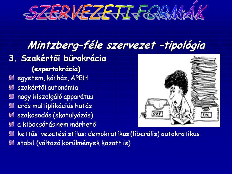 Mintzberg–féle szervezet –tipológia