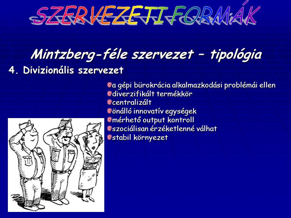 Mintzberg-féle szervezet – tipológia