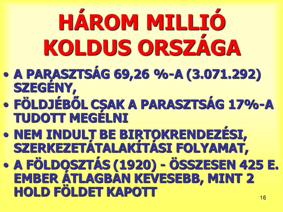 HÁROM MILLIÓ KOLDUS ORSZÁGA