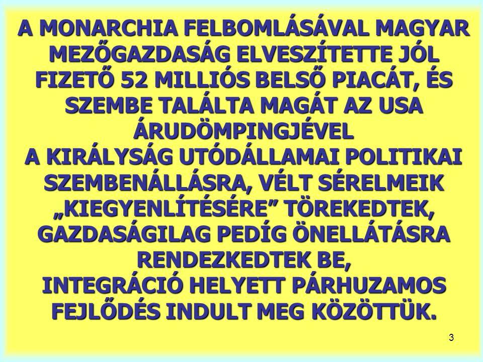 """A MONARCHIA FELBOMLÁSÁVAL MAGYAR MEZŐGAZDASÁG ELVESZÍTETTE JÓL FIZETŐ 52 MILLIÓS BELSŐ PIACÁT, ÉS SZEMBE TALÁLTA MAGÁT AZ USA ÁRUDÖMPINGJÉVEL A KIRÁLYSÁG UTÓDÁLLAMAI POLITIKAI SZEMBENÁLLÁSRA, VÉLT SÉRELMEIK """"KIEGYENLÍTÉSÉRE TÖREKEDTEK, GAZDASÁGILAG PEDÍG ÖNELLÁTÁSRA RENDEZKEDTEK BE, INTEGRÁCIÓ HELYETT PÁRHUZAMOS FEJLŐDÉS INDULT MEG KÖZÖTTÜK."""