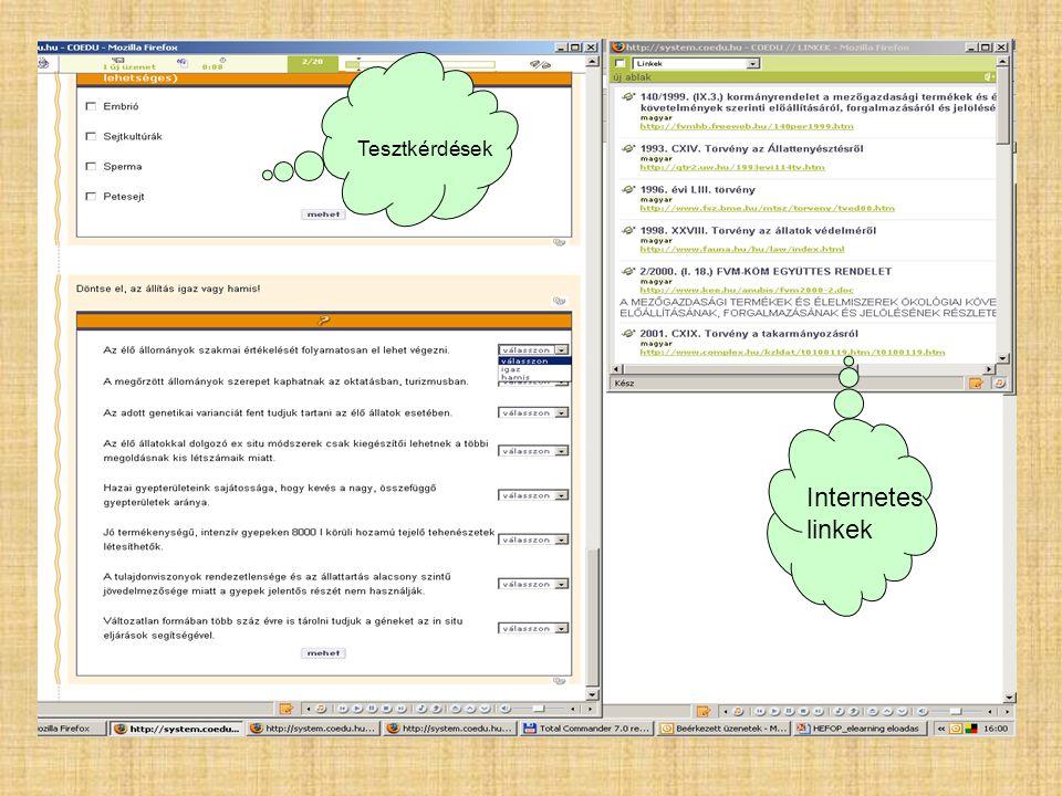 Tesztkérdések Internetes linkek