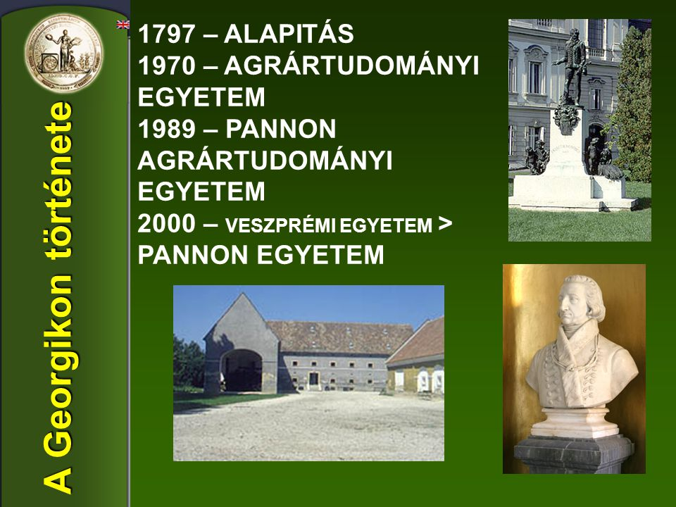 1797 – ALAPITÁS 1970 – AGRÁRTUDOMÁNYI EGYETEM 1989 – PANNON AGRÁRTUDOMÁNYI EGYETEM 2000 – VESZPRÉMI EGYETEM > PANNON EGYETEM