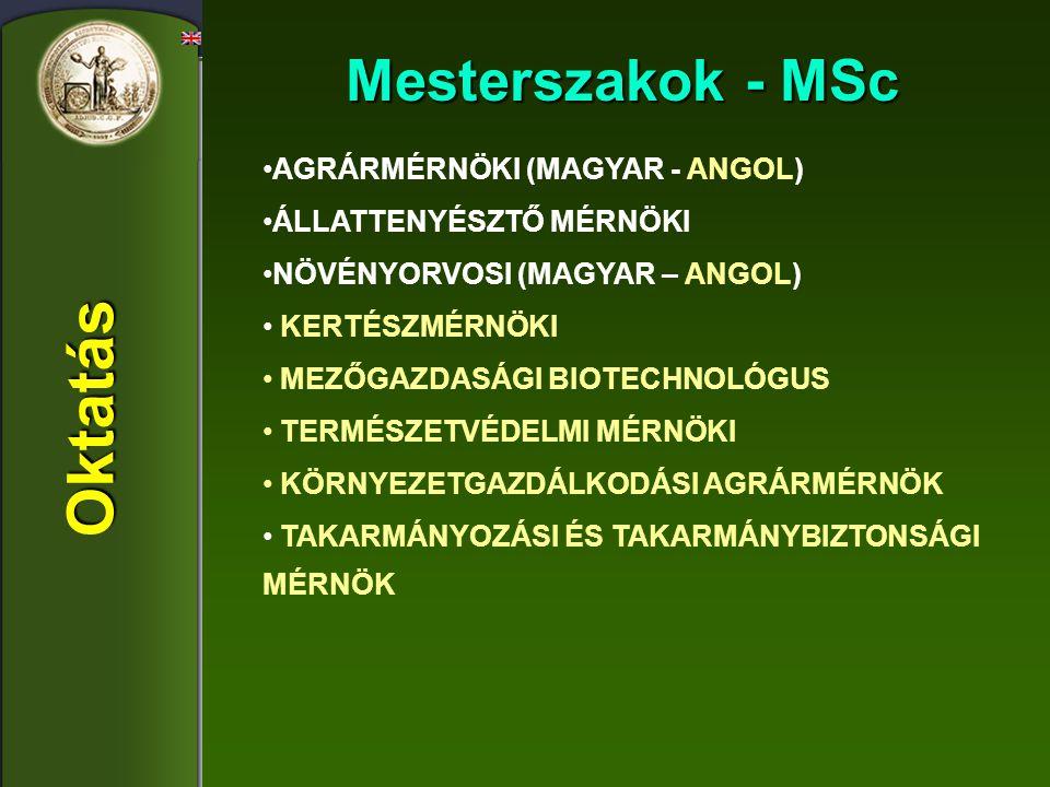 Oktatás Mesterszakok - MSc AGRÁRMÉRNÖKI (MAGYAR - ANGOL)