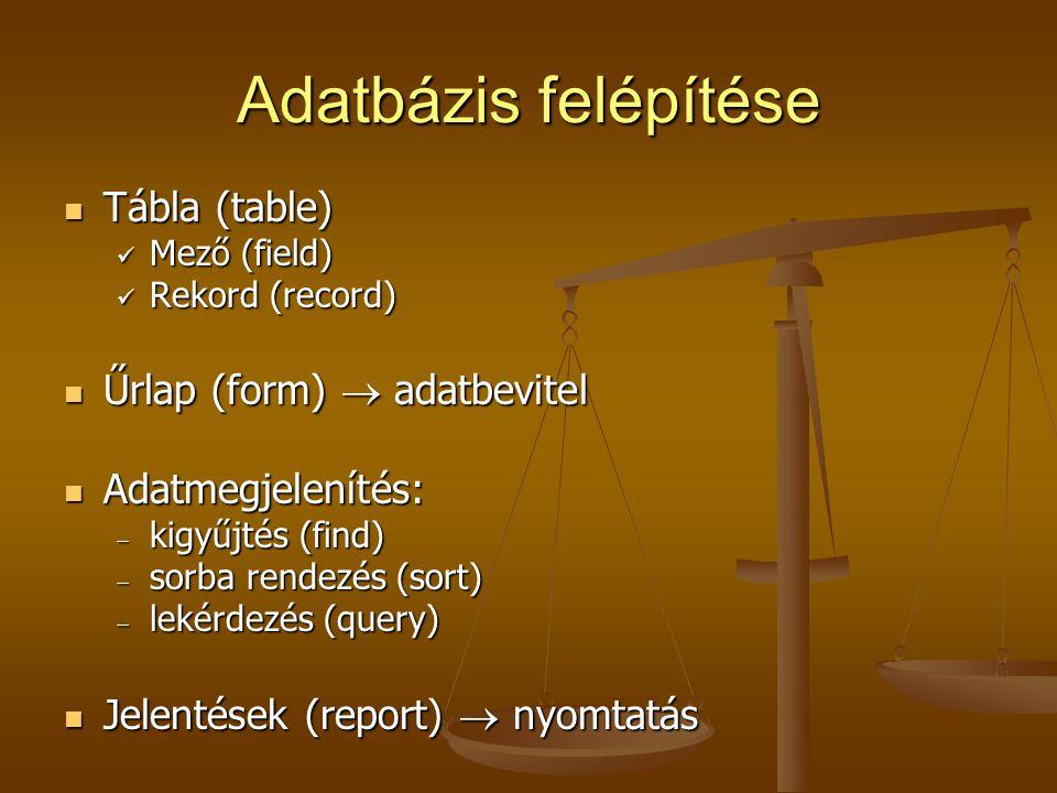 Adatbázis felépítése Tábla (table) Űrlap (form)  adatbevitel