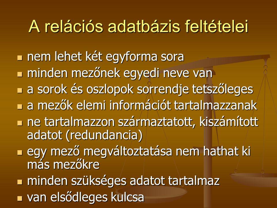 A relációs adatbázis feltételei