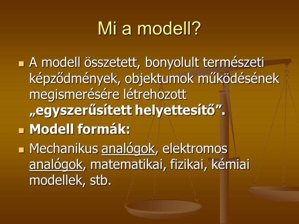 """Mi a modell A modell összetett, bonyolult természeti képződmények, objektumok működésének megismerésére létrehozott """"egyszerűsített helyettesítő ."""