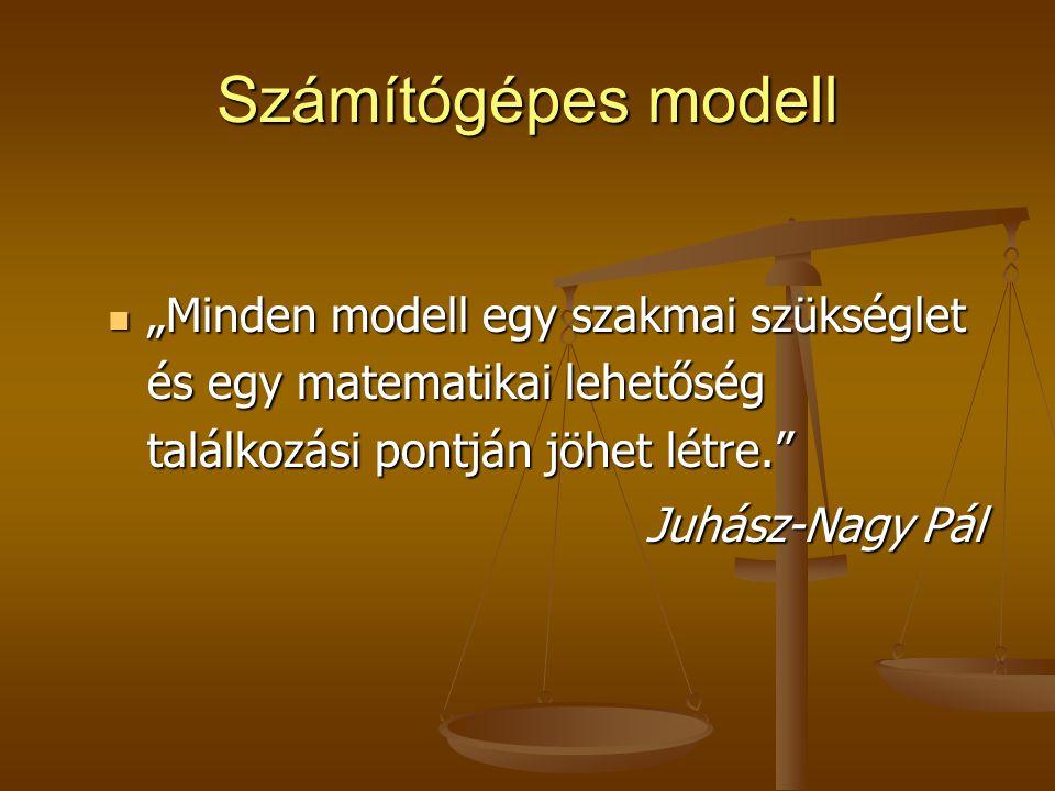 """Számítógépes modell """"Minden modell egy szakmai szükséglet és egy matematikai lehetőség találkozási pontján jöhet létre."""