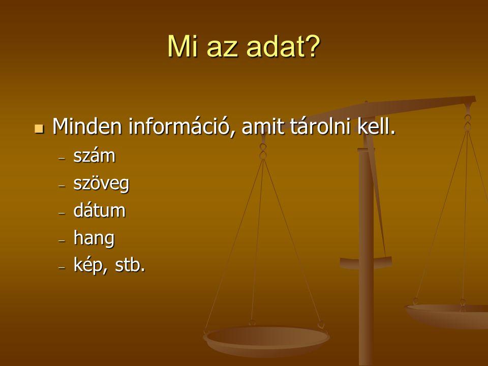 Mi az adat Minden információ, amit tárolni kell. szám szöveg dátum