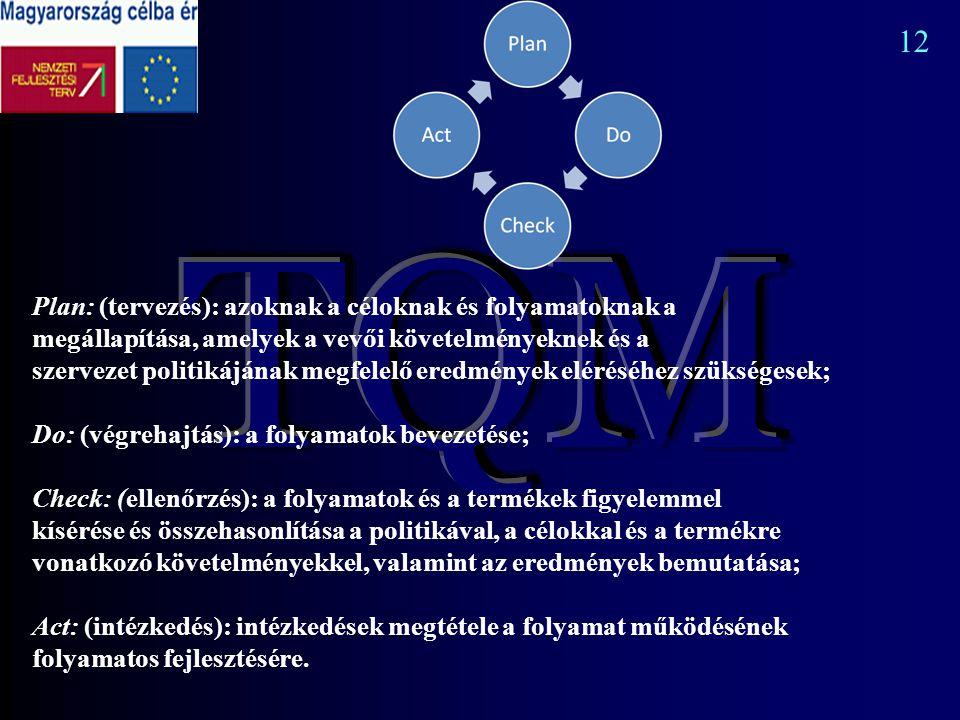 Plan: (tervezés): azoknak a céloknak és folyamatoknak a