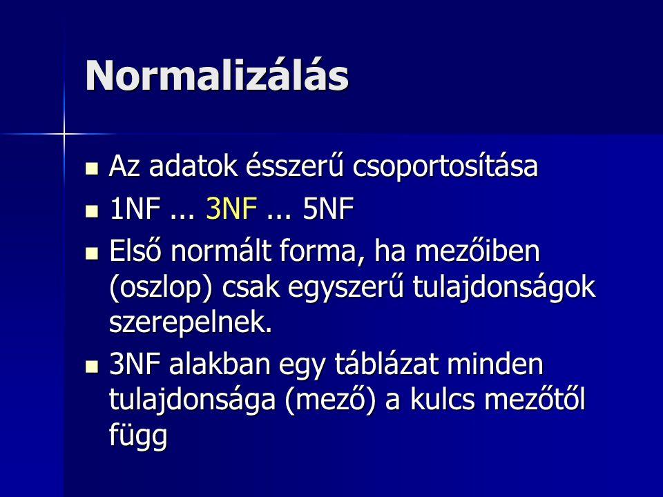 Normalizálás Az adatok ésszerű csoportosítása 1NF ... 3NF ... 5NF