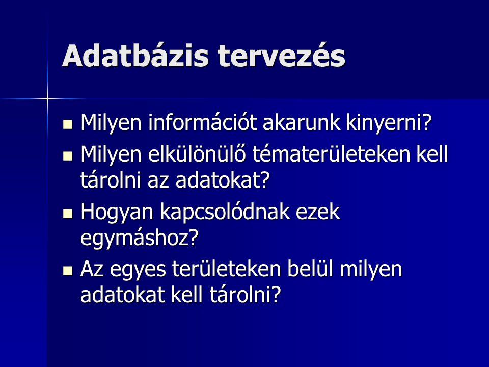 Adatbázis tervezés Milyen információt akarunk kinyerni