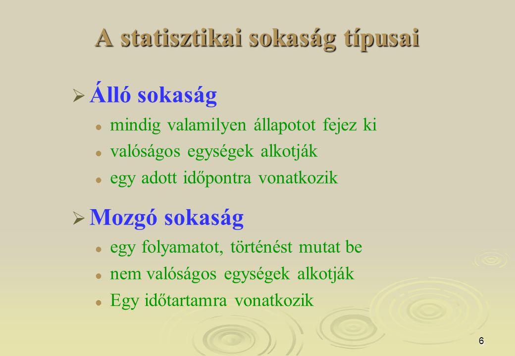 A statisztikai sokaság típusai