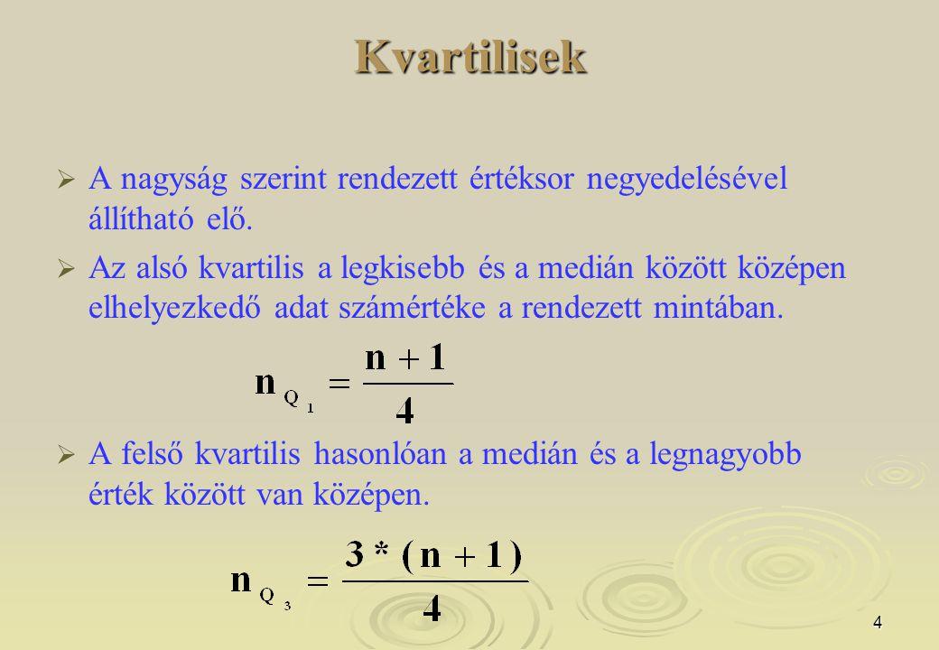 Kvartilisek A nagyság szerint rendezett értéksor negyedelésével állítható elő.