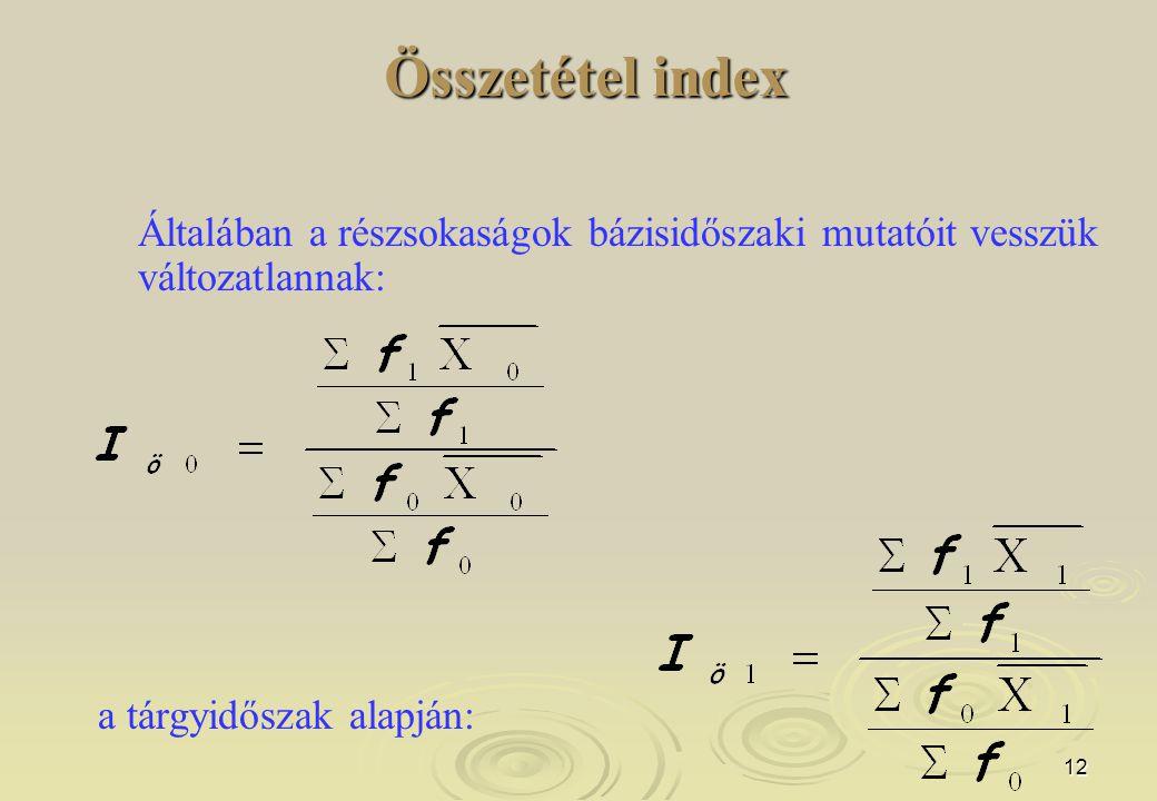 Összetétel index Általában a részsokaságok bázisidőszaki mutatóit vesszük változatlannak: a tárgyidőszak alapján: