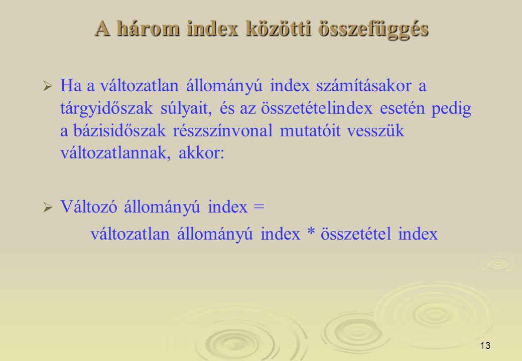 A három index közötti összefüggés