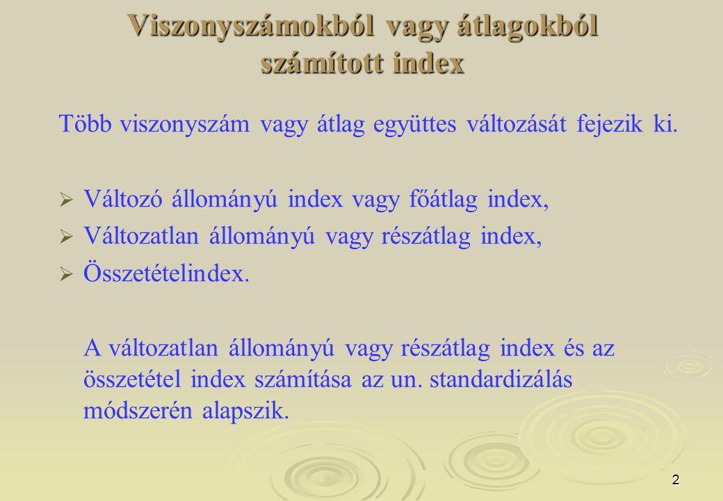 Viszonyszámokból vagy átlagokból számított index