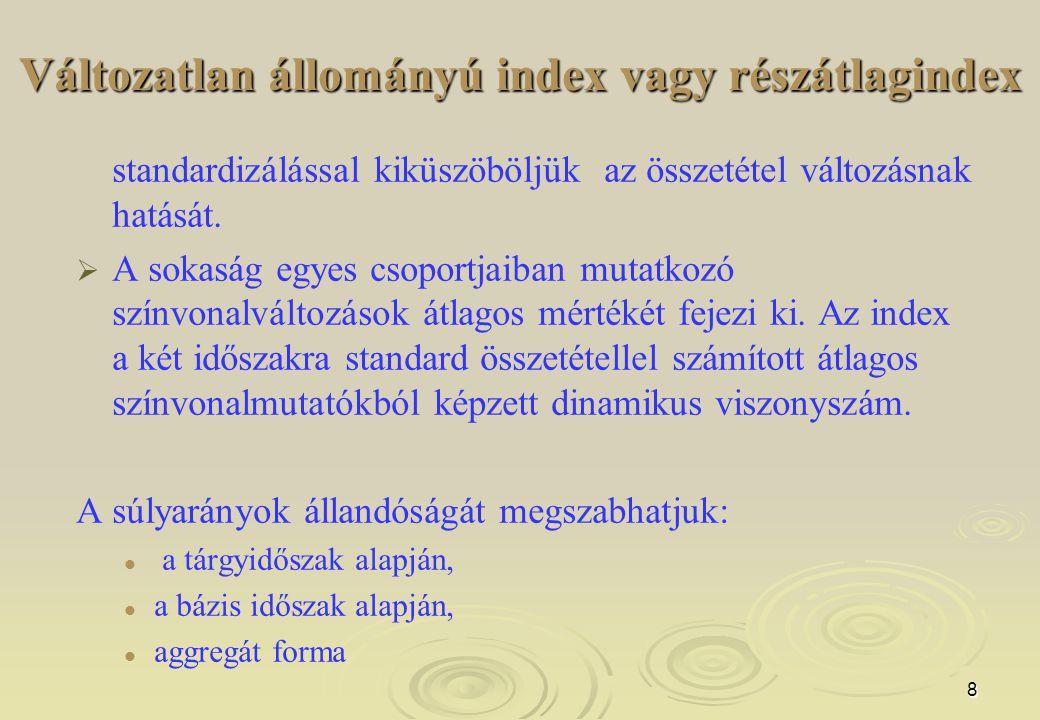 Változatlan állományú index vagy részátlagindex