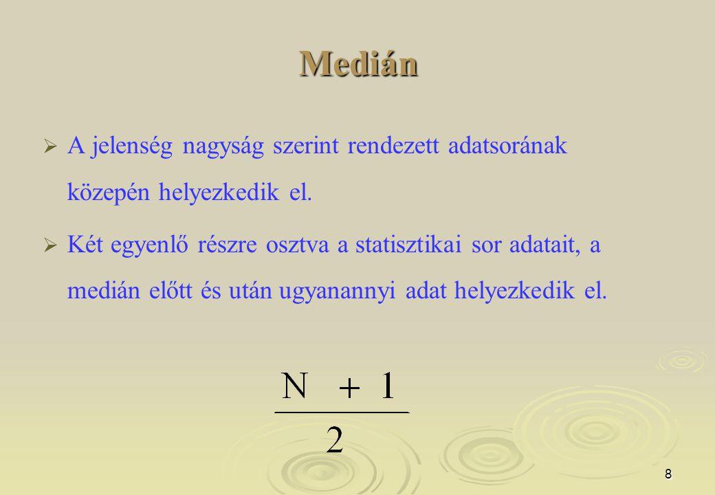 Medián A jelenség nagyság szerint rendezett adatsorának közepén helyezkedik el.