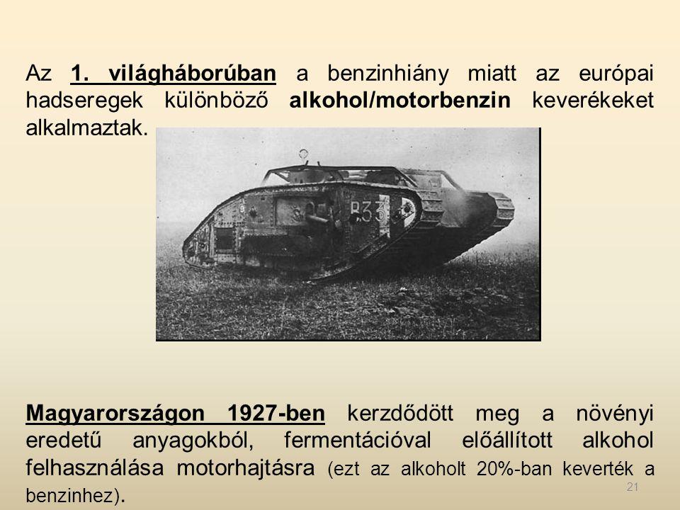 Az 1. világháborúban a benzinhiány miatt az európai hadseregek különböző alkohol/motorbenzin keverékeket alkalmaztak.