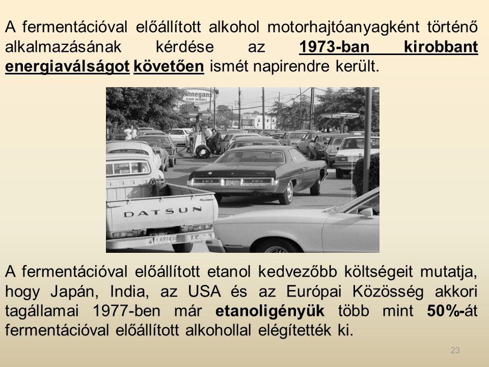 A fermentációval előállított alkohol motorhajtóanyagként történő alkalmazásának kérdése az 1973-ban kirobbant energiaválságot követően ismét napirendre került.