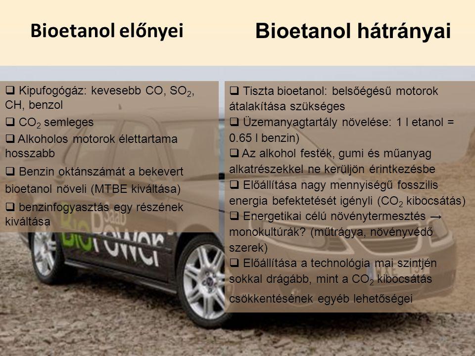 Bioetanol előnyei Bioetanol hátrányai
