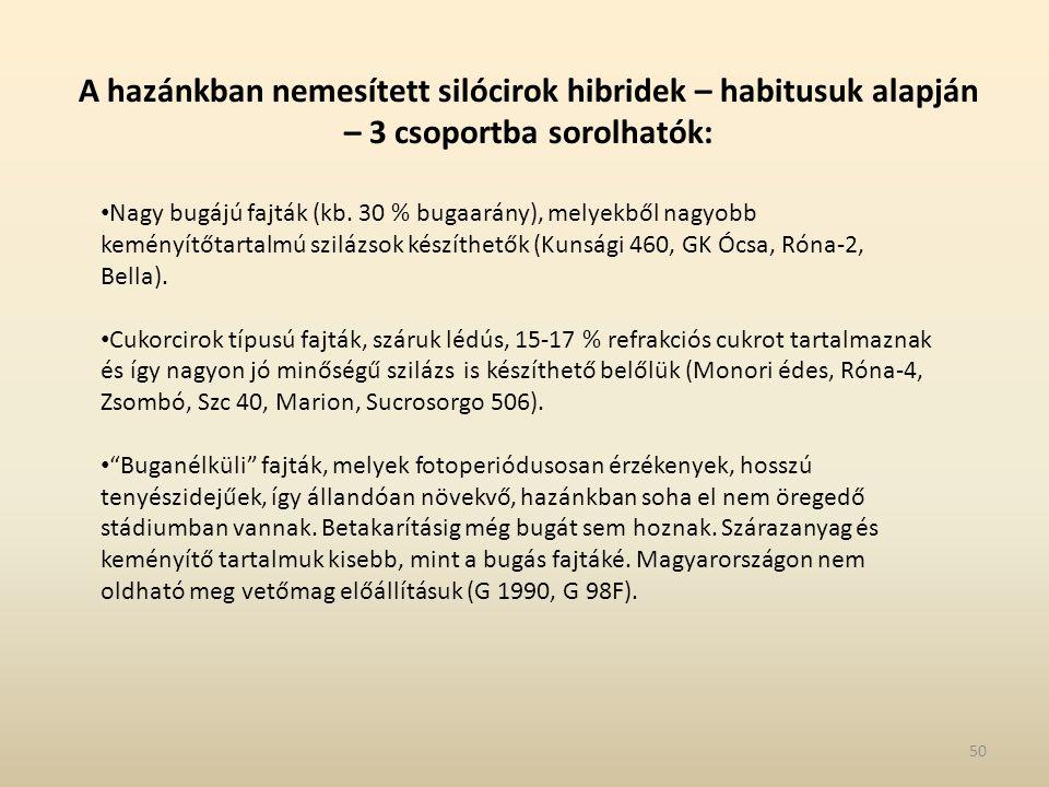 A hazánkban nemesített silócirok hibridek – habitusuk alapján – 3 csoportba sorolhatók: