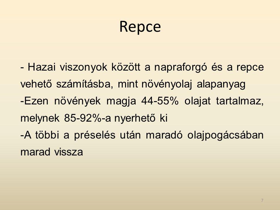 Repce - Hazai viszonyok között a napraforgó és a repce vehető számításba, mint növényolaj alapanyag.