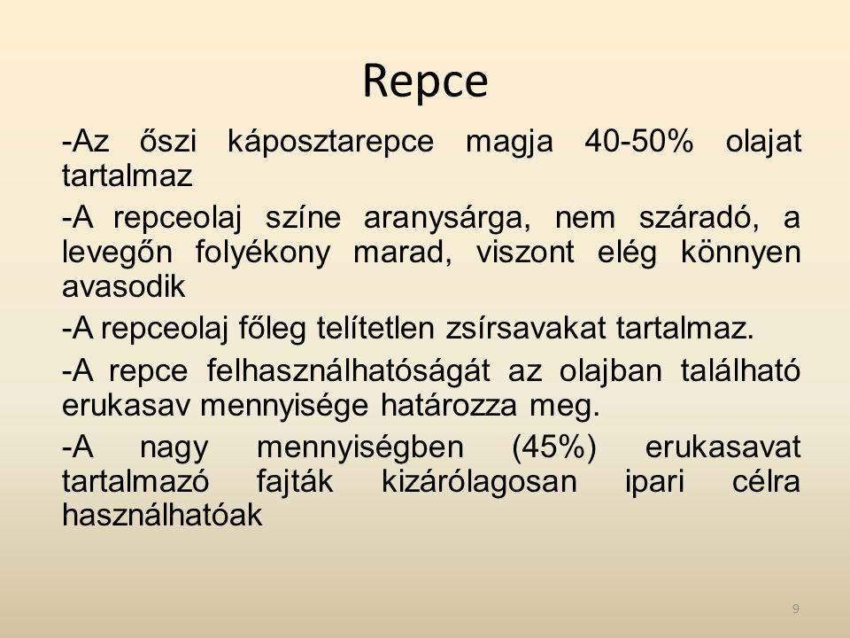 Repce Az őszi káposztarepce magja 40-50% olajat tartalmaz
