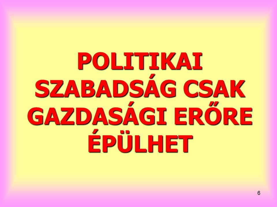 POLITIKAI SZABADSÁG CSAK GAZDASÁGI ERŐRE ÉPÜLHET