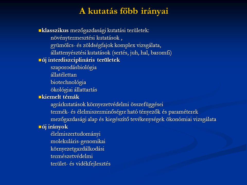 A kutatás főbb irányai klasszikus mezőgazdasági kutatási területek:
