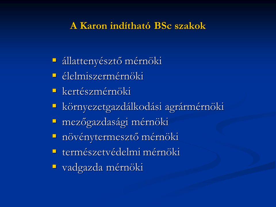 A Karon indítható BSc szakok