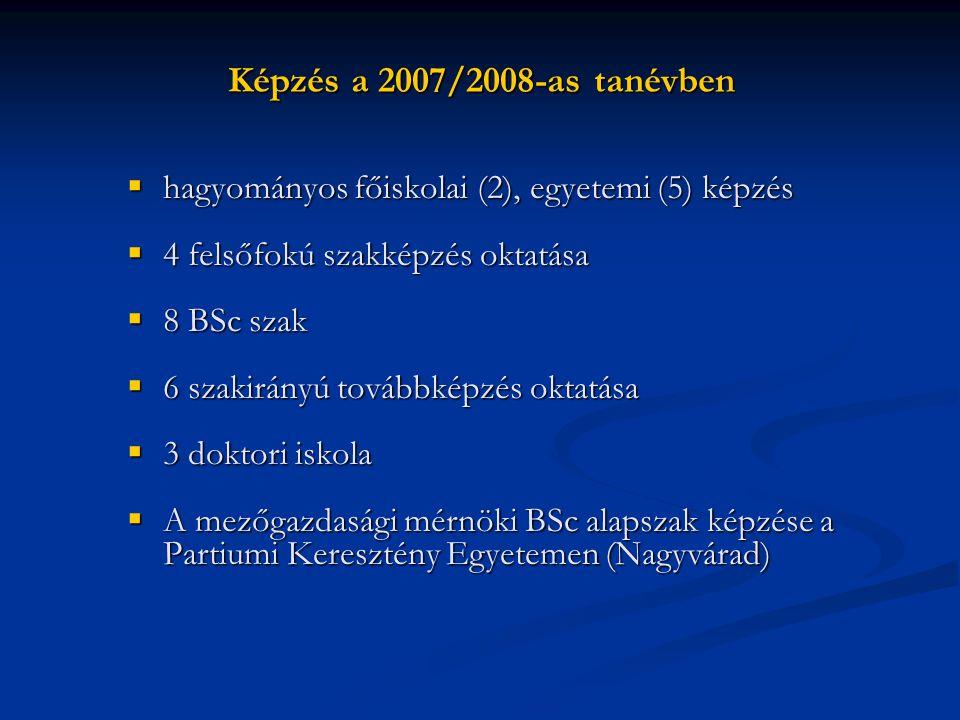 Képzés a 2007/2008-as tanévben hagyományos főiskolai (2), egyetemi (5) képzés. 4 felsőfokú szakképzés oktatása.