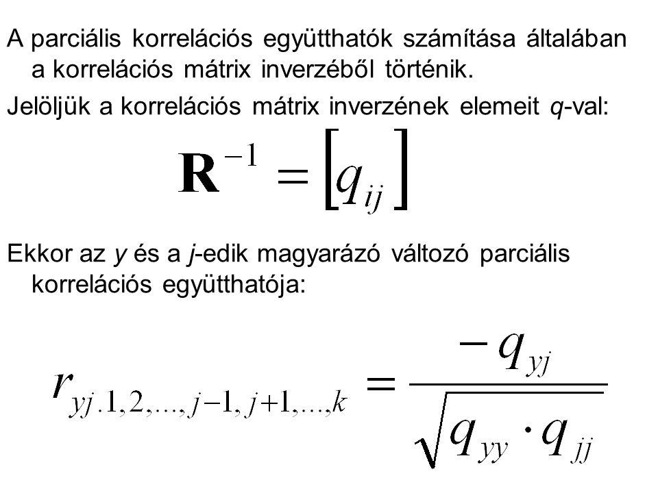 A parciális korrelációs együtthatók számítása általában a korrelációs mátrix inverzéből történik.