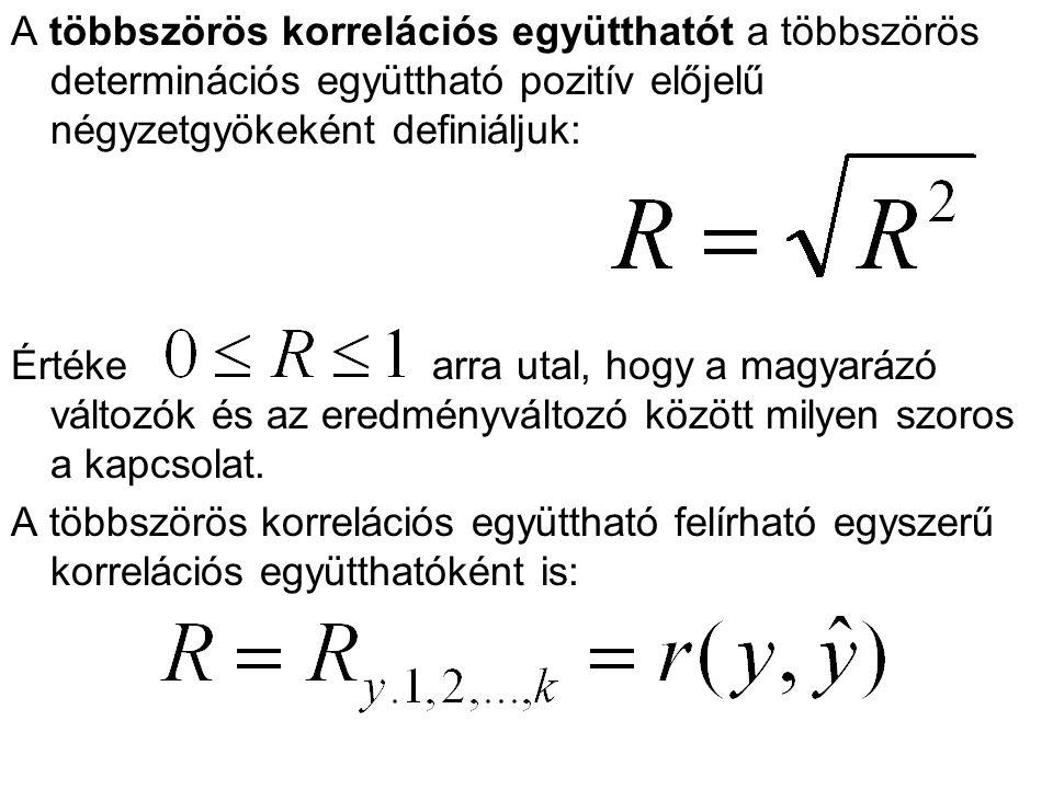 A többszörös korrelációs együtthatót a többszörös determinációs együttható pozitív előjelű négyzetgyökeként definiáljuk: