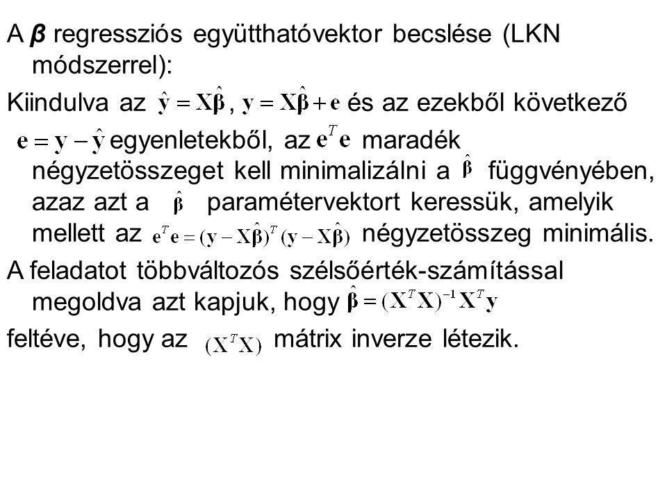 A β regressziós együtthatóvektor becslése (LKN módszerrel):