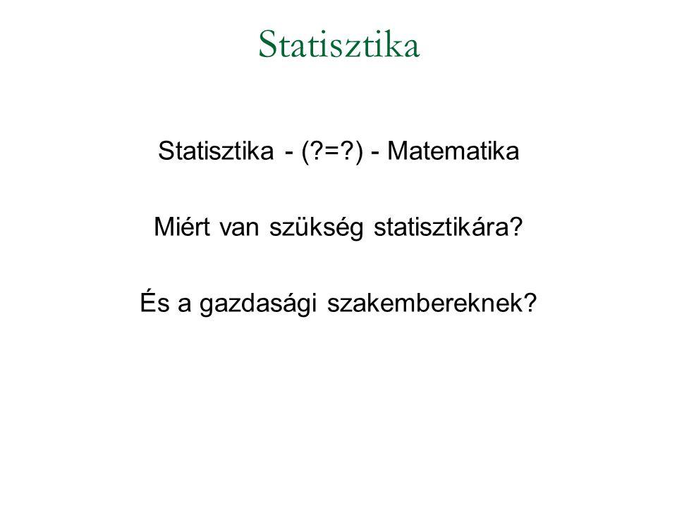Statisztika Statisztika - ( = ) - Matematika
