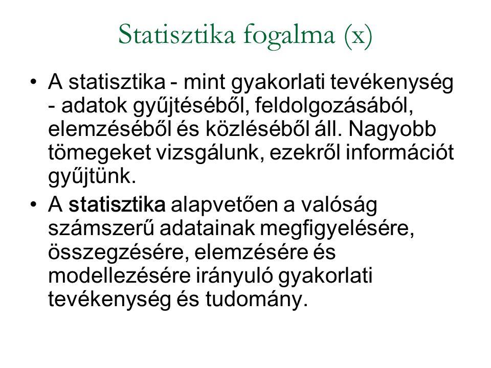 Statisztika fogalma (x)