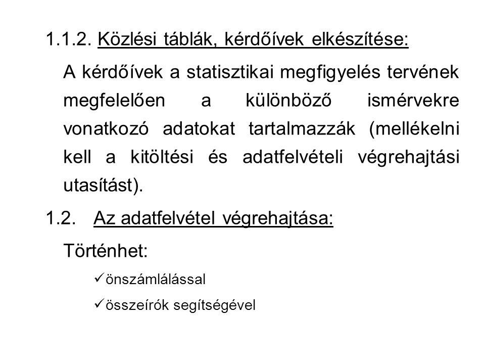 1.1.2. Közlési táblák, kérdőívek elkészítése: