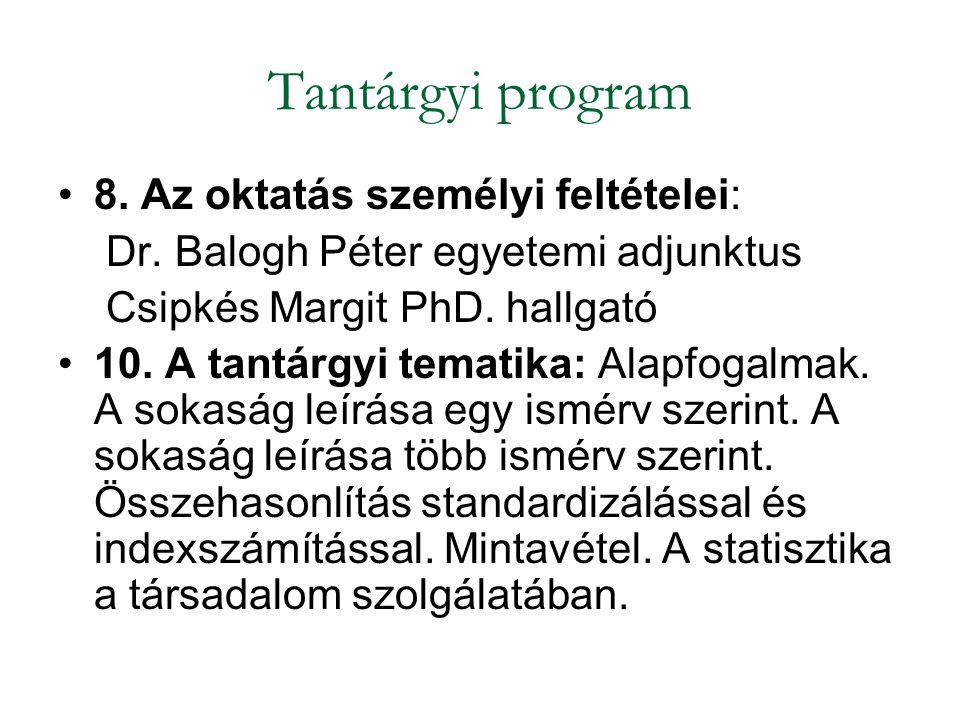 Tantárgyi program 8. Az oktatás személyi feltételei: