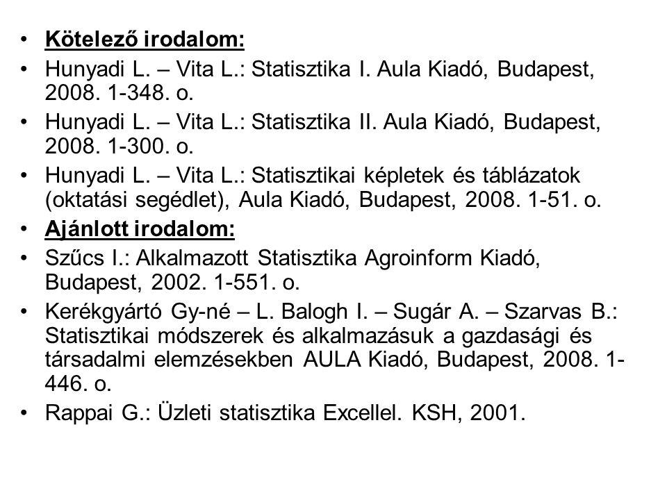Kötelező irodalom: Hunyadi L. – Vita L.: Statisztika I. Aula Kiadó, Budapest, 2008. 1-348. o.