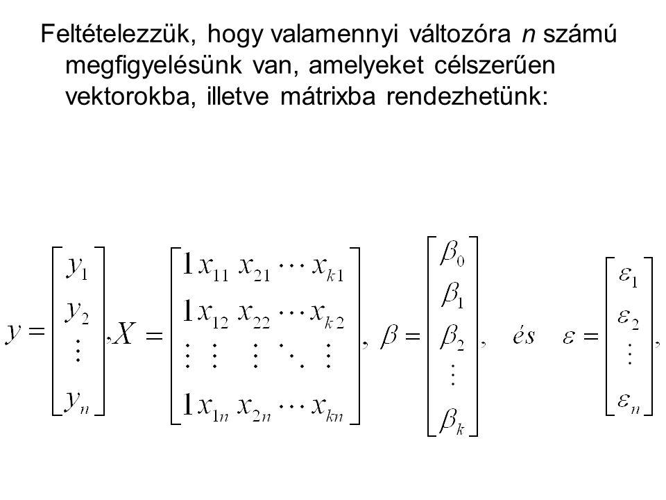 Feltételezzük, hogy valamennyi változóra n számú megfigyelésünk van, amelyeket célszerűen vektorokba, illetve mátrixba rendezhetünk: