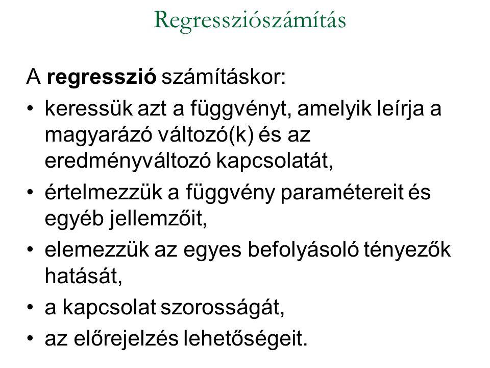 Regressziószámítás A regresszió számításkor: