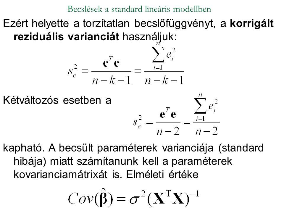Becslések a standard lineáris modellben