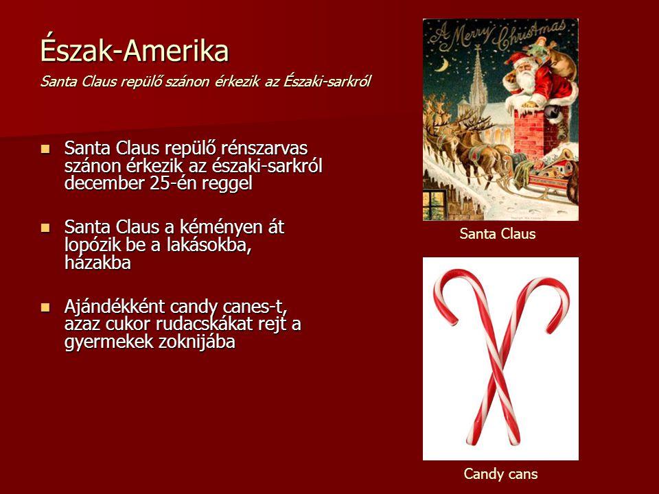 Észak-Amerika Santa Claus repülő szánon érkezik az Északi-sarkról