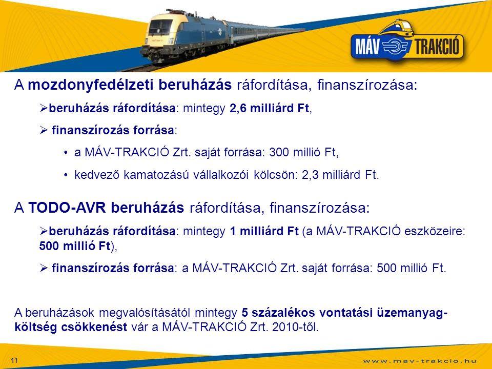 A mozdonyfedélzeti beruházás ráfordítása, finanszírozása: